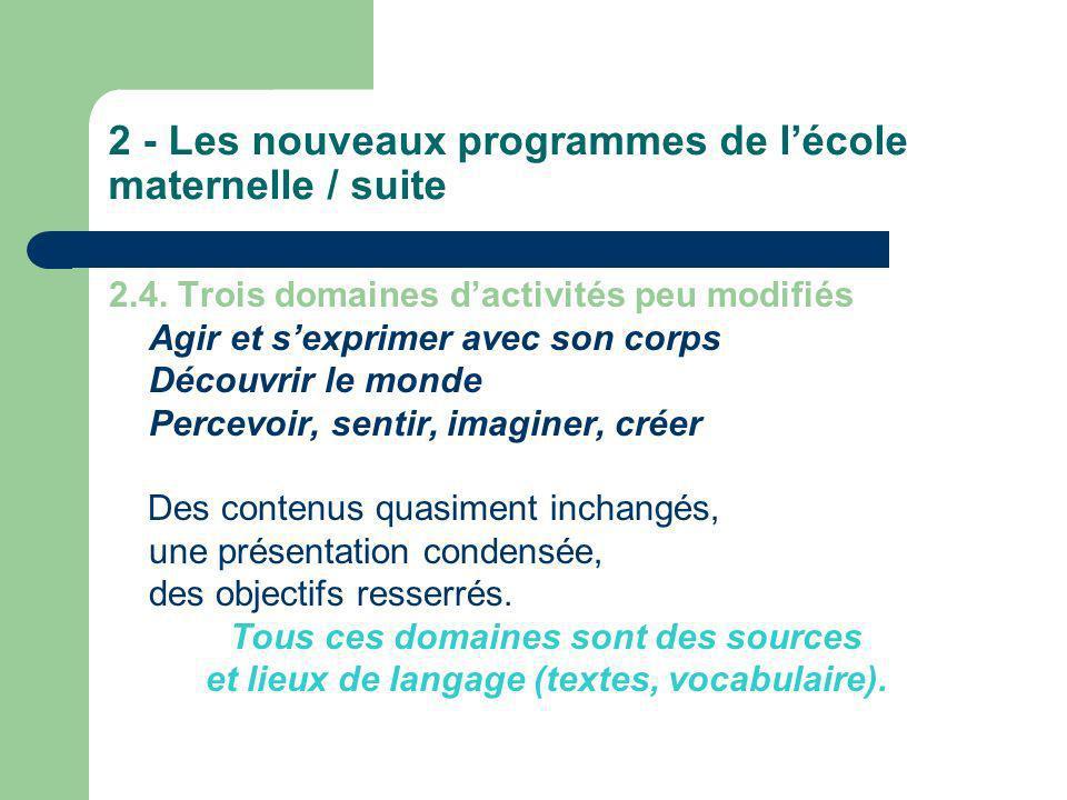 2 - Les nouveaux programmes de lécole maternelle / suite 2.5.