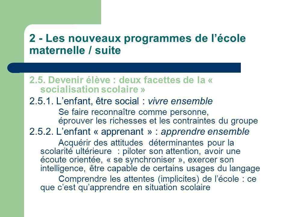 2 - Les nouveaux programmes de lécole maternelle / suite 2.5. Devenir élève : deux facettes de la « socialisation scolaire » 2.5.1. Lenfant, être soci