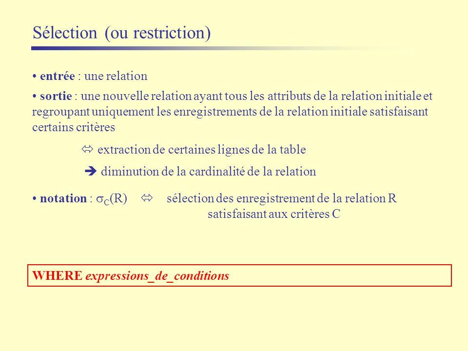 Sélection (ou restriction) entrée : une relation sortie : une nouvelle relation ayant tous les attributs de la relation initiale et regroupant uniquem