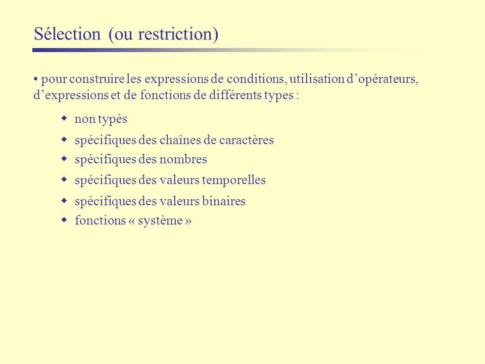 Sélection (ou restriction) pour construire les expressions de conditions, utilisation dopérateurs, dexpressions et de fonctions de différents types :