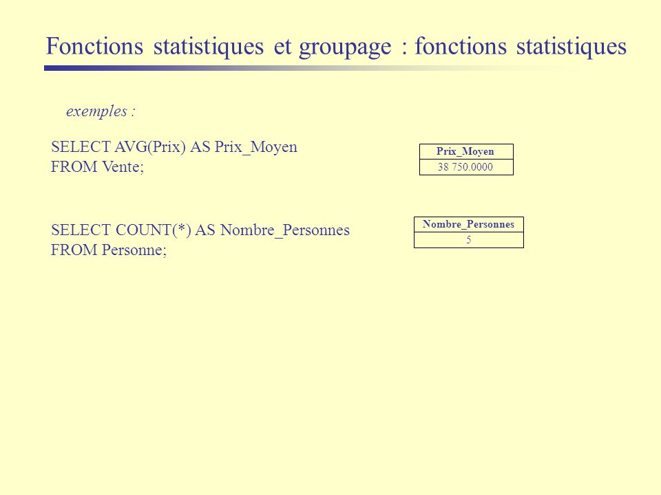 Fonctions statistiques et groupage : fonctions statistiques exemples : SELECT AVG(Prix) AS Prix_Moyen FROM Vente; SELECT COUNT(*) AS Nombre_Personnes