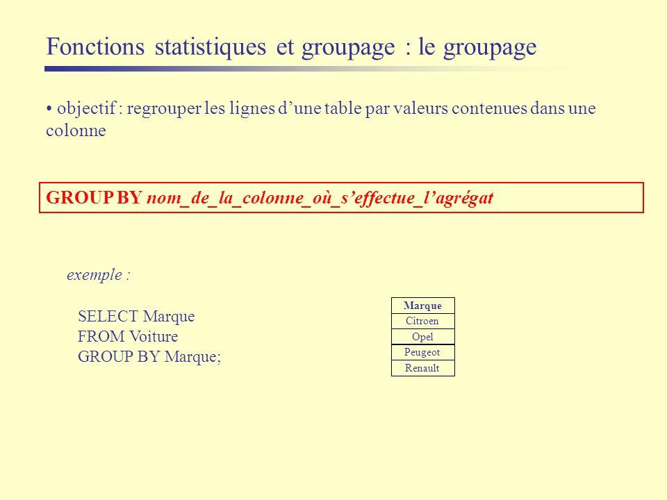objectif : regrouper les lignes dune table par valeurs contenues dans une colonne GROUP BY nom_de_la_colonne_où_seffectue_lagrégat exemple : SELECT Ma