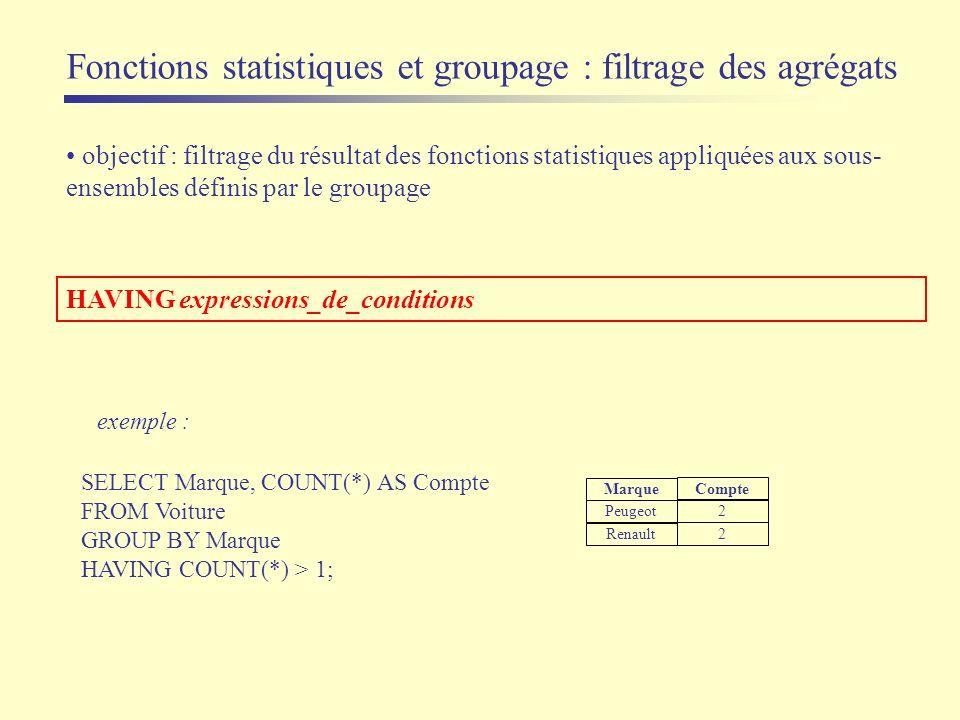 objectif : filtrage du résultat des fonctions statistiques appliquées aux sous- ensembles définis par le groupage exemple : SELECT Marque, COUNT(*) AS
