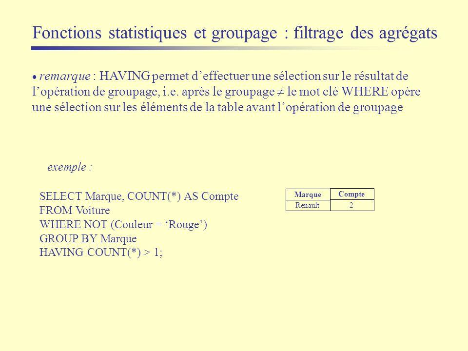 remarque : HAVING permet deffectuer une sélection sur le résultat de lopération de groupage, i.e. après le groupage le mot clé WHERE opère une sélecti