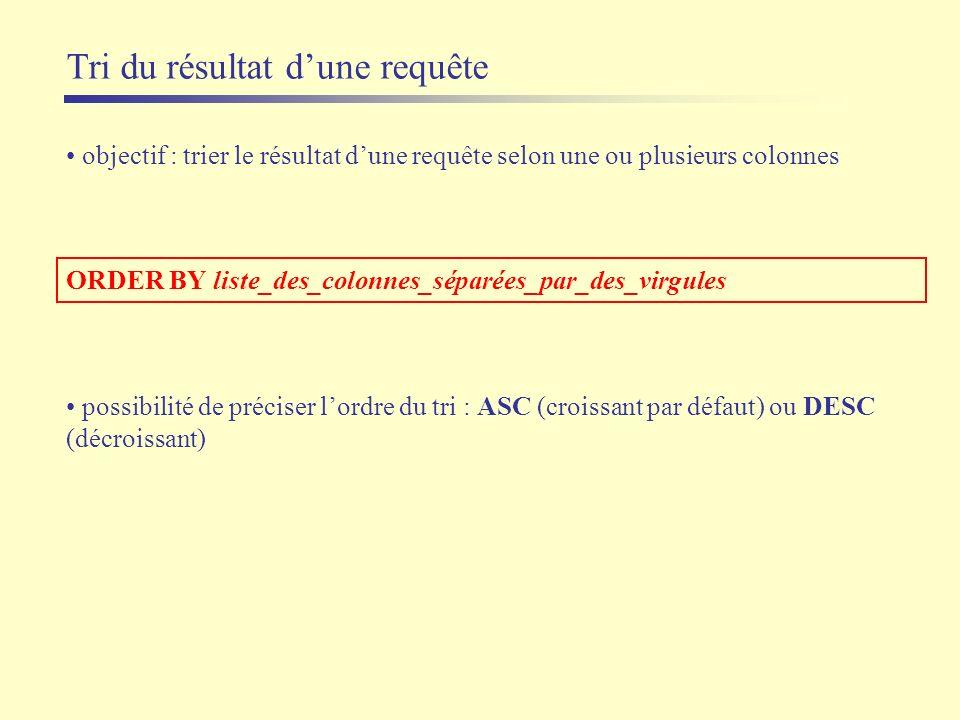 Tri du résultat dune requête objectif : trier le résultat dune requête selon une ou plusieurs colonnes ORDER BY liste_des_colonnes_séparées_par_des_vi