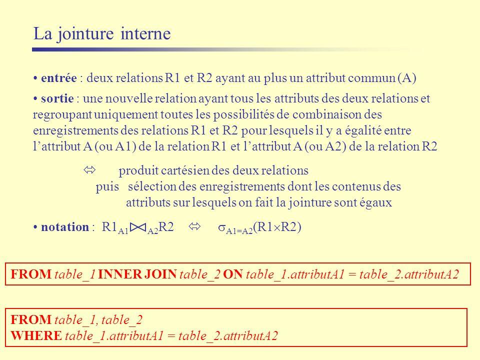 La jointure interne entrée : deux relations R1 et R2 ayant au plus un attribut commun (A) sortie : une nouvelle relation ayant tous les attributs des