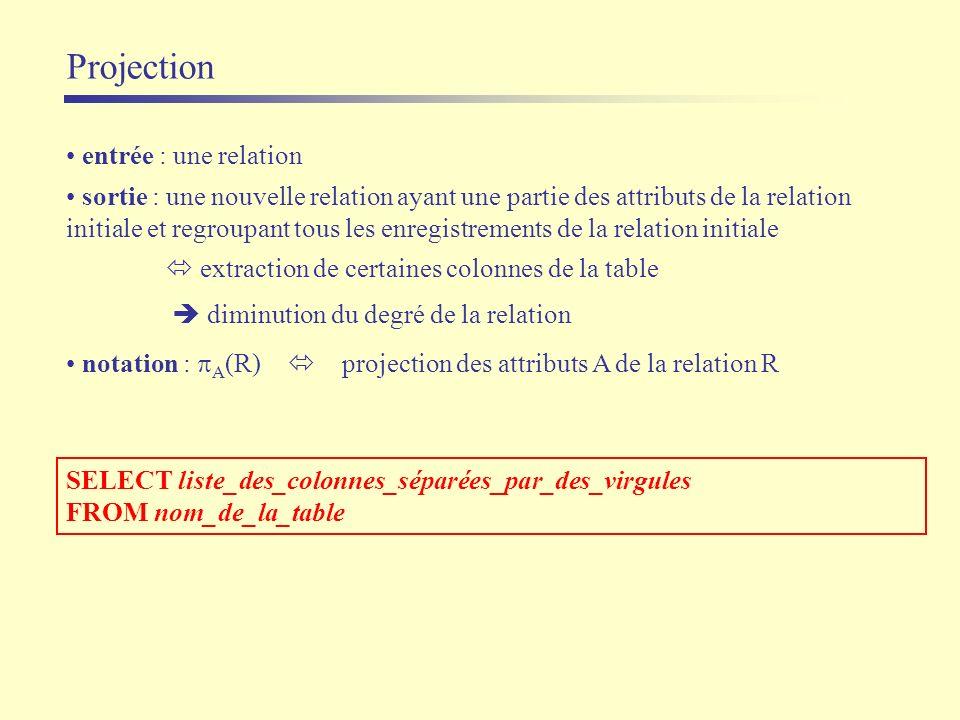 Projection SELECT liste_des_colonnes_séparées_par_des_virgules FROM nom_de_la_table entrée : une relation sortie : une nouvelle relation ayant une par
