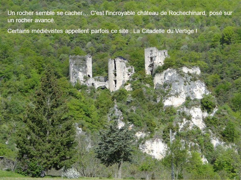 Un rocher semble se cacher… C est l incroyable château de Rochechinard, posé sur un rocher avancé.