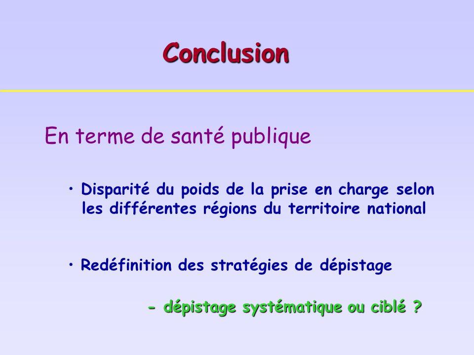 En terme de santé publique Disparité du poids de la prise en charge selon les différentes régions du territoire national Redéfinition des stratégies de dépistage - dépistage systématique ou ciblé .
