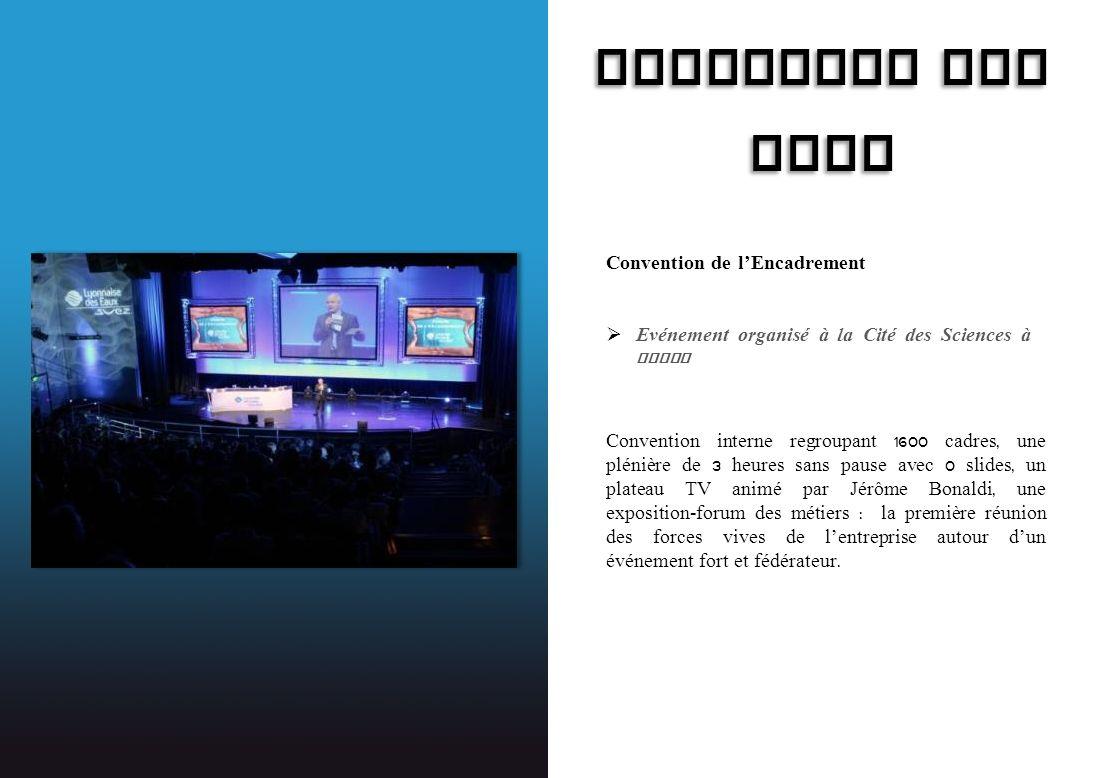 LYONNAISE DES EAUX Convention de lEncadrement Evénement organisé à la Cité des Sciences à Paris Convention interne regroupant 1600 cadres, une plénièr