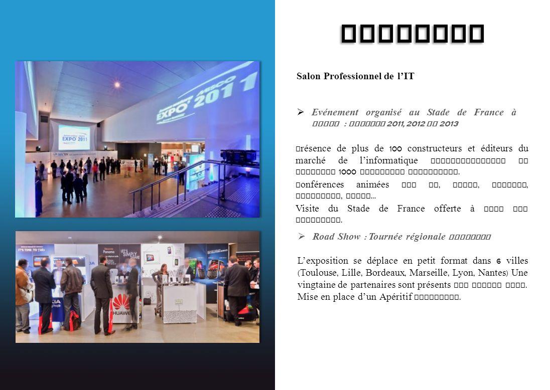 SYSTEMAX Salon Professionnel de lIT Evénement organisé au Stade de France à Paris : session 2011, 2012 et 2013 Présence de plus de 100 constructeurs e