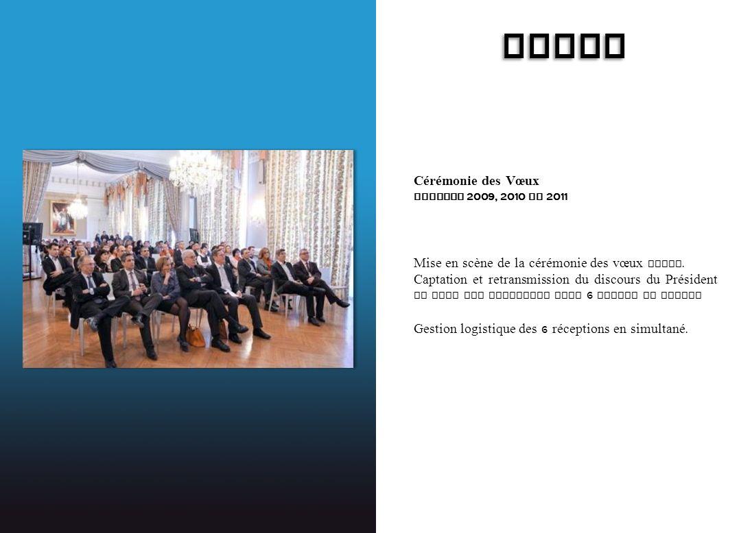 ICADE Cérémonie des Vœux Session 2009, 2010 et 2011 Mise en scène de la cérémonie des vœux Paris. Captation et retransmission du discours du Président