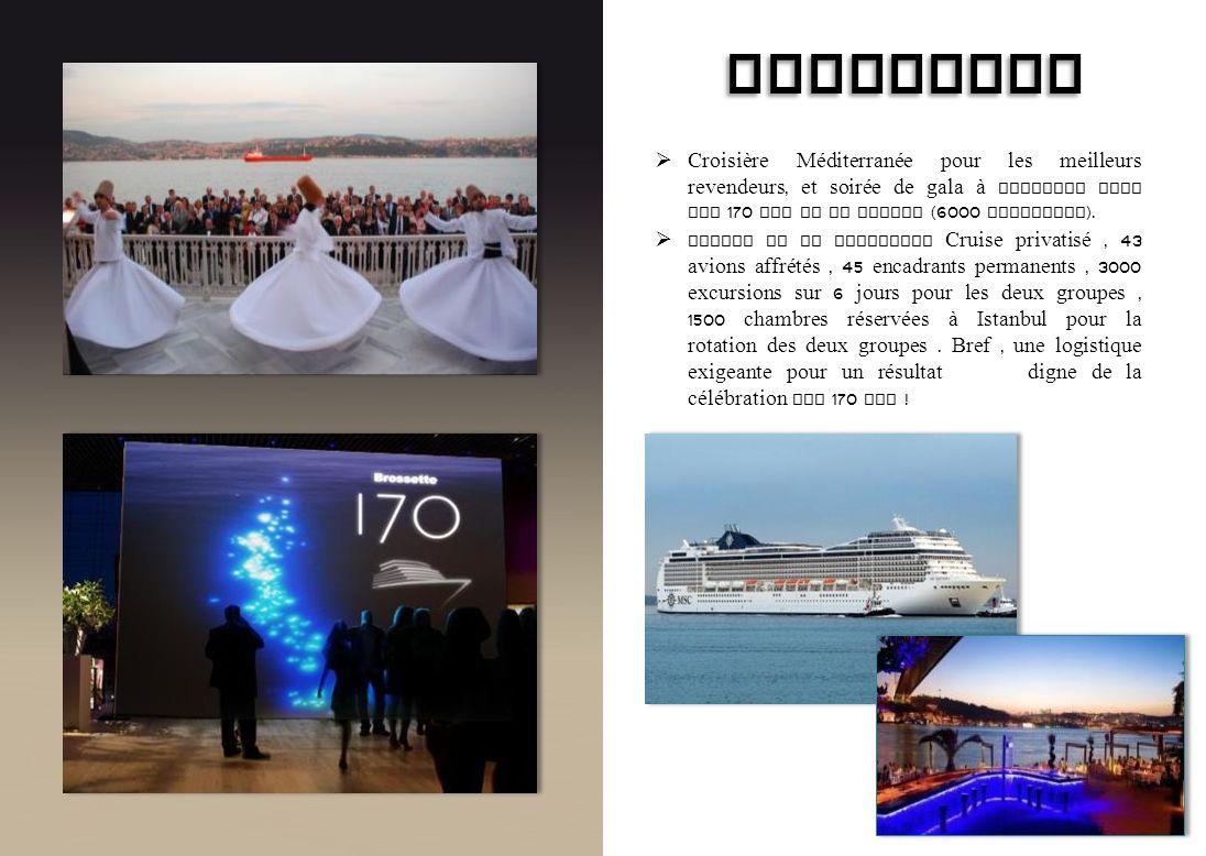 BROSSETTE Croisière Méditerranée pour les meilleurs revendeurs, et soirée de gala à Istanbul pour les 170 ans de la marque (6000 personnes ). Navire d