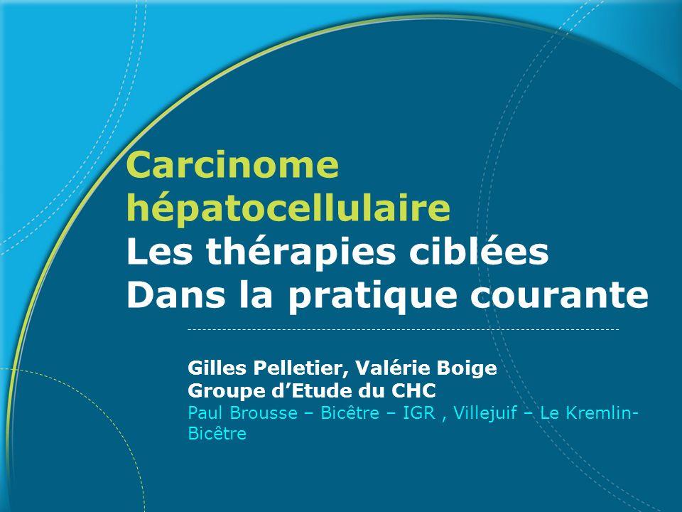 Essai SHARP : Caractéristiques des patients Caractéristiques Sorafenib (n=299) Placebo (n=303) Age (médian) 6566 Région (Europe/NAmérique/autres) (%) 88/9/387/13 Etiologie (%) Hépatites Virales (HCV/HBV) 29/1927/18 Alcool/autres 26/2626/29 Traitements précédents (%) Résection chirurgicale 1921 Traitements loco-régionaux 3941 Invasion vasculaire macroscopique et/ou diffusion extrahépatique Présent (%) 70 Absent (%) 30 Llovet et al., ASCO 2007
