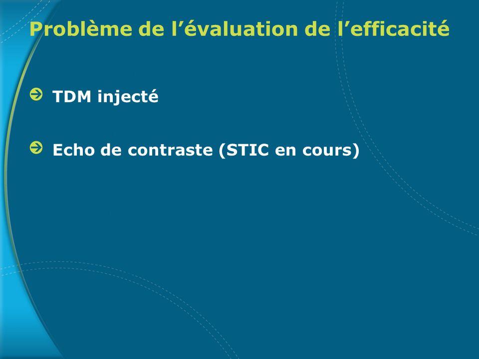 Problème de lévaluation de lefficacité TDM injecté Echo de contraste (STIC en cours)