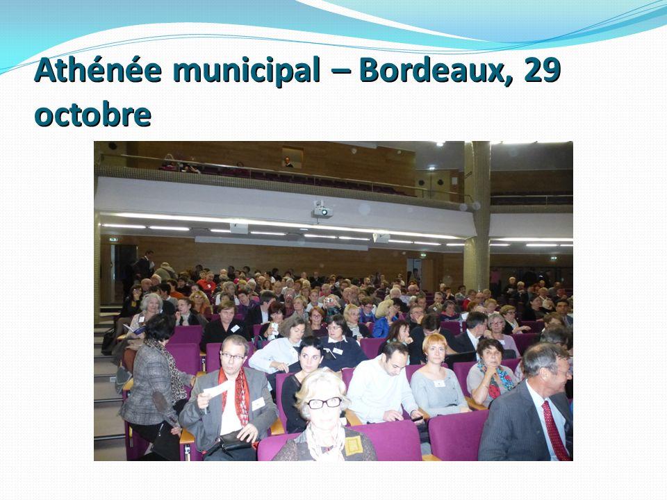 Athénée municipal – Bordeaux, 29 octobre