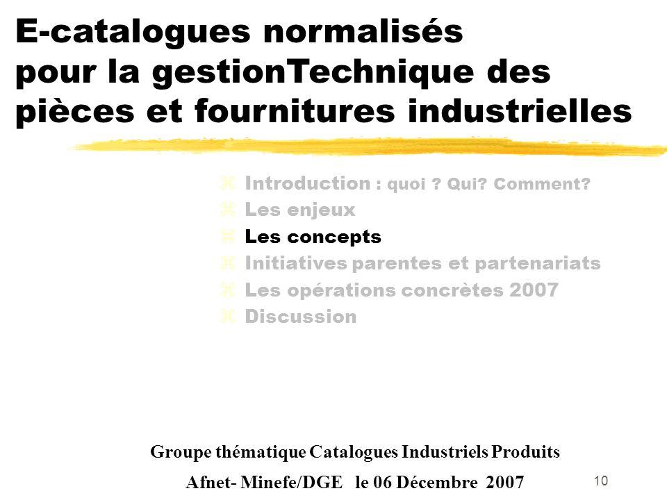 10 Groupe thématique Catalogues Industriels Produits Afnet- Minefe/DGE le 06 Décembre 2007 zIntroduction : quoi ? Qui? Comment? zLes enjeux zLes conce