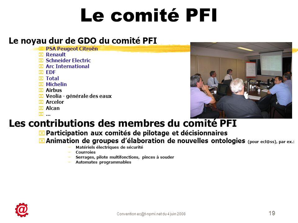 Convention ec@t-npmi.net du 4 juin 2008 19 Le noyau dur de GDO du comité PFI xPSA Peugeot Citroën xRenault xSchneider Electric xArc International xEDF