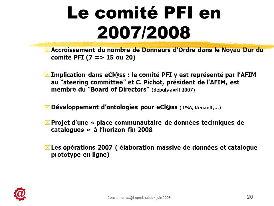 Convention ec@t-npmi.net du 4 juin 2008 20 xAccroissement du nombre de Donneurs dOrdre dans le Noyau Dur du comité PFI (7 => 15 ou 20) xImplication da