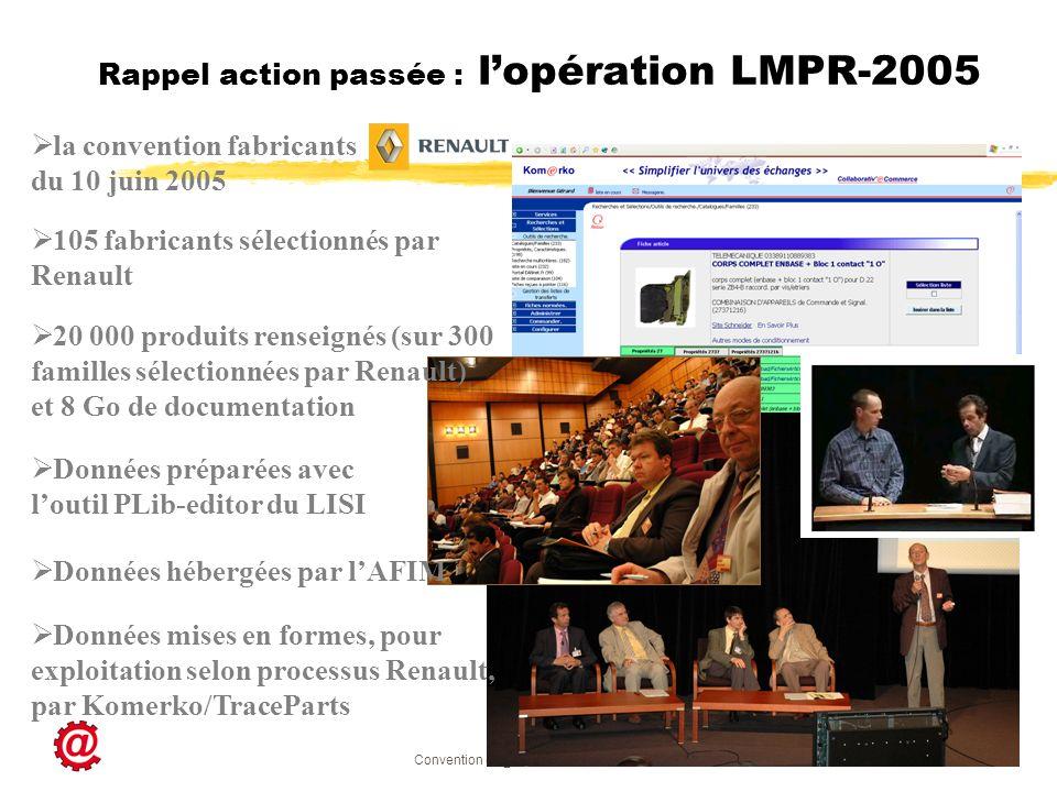 Convention ec@t-npmi.net du 4 juin 2008 22 Rappel action passée : lopération LMPR-2005 la convention fabricants du 10 juin 2005 105 fabricants sélecti