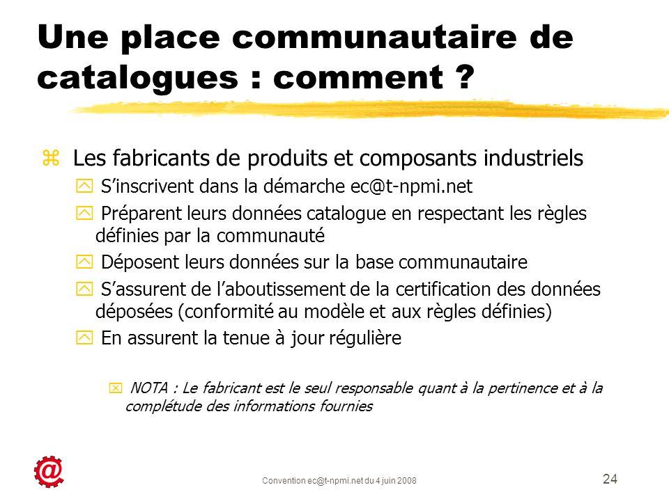 Convention ec@t-npmi.net du 4 juin 2008 24 Une place communautaire de catalogues : comment ? z Les fabricants de produits et composants industriels y