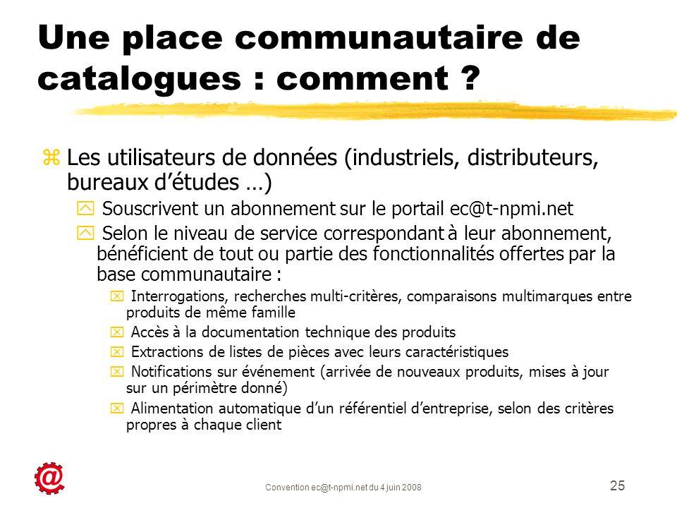 Convention ec@t-npmi.net du 4 juin 2008 25 Une place communautaire de catalogues : comment ? zLes utilisateurs de données (industriels, distributeurs,