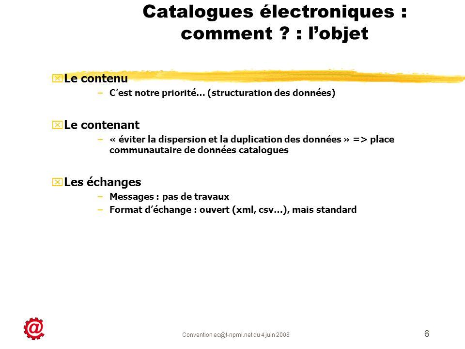 Convention ec@t-npmi.net du 4 juin 2008 6 Catalogues électroniques : comment ? : lobjet xLxLe contenu –C–Cest notre priorité… (structuration des donné