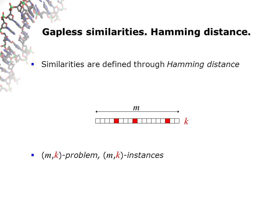 Gapless similarities. Hamming distance.