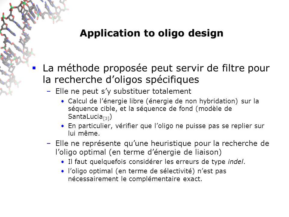 Application to oligo design La méthode proposée peut servir de filtre pour la recherche doligos spécifiques –Elle ne peut sy substituer totalement Calcul de lénergie libre (énergie de non hybridation) sur la séquence cible, et la séquence de fond (modèle de SantaLucia [3] ) En particulier, vérifier que loligo ne puisse pas se replier sur lui même.