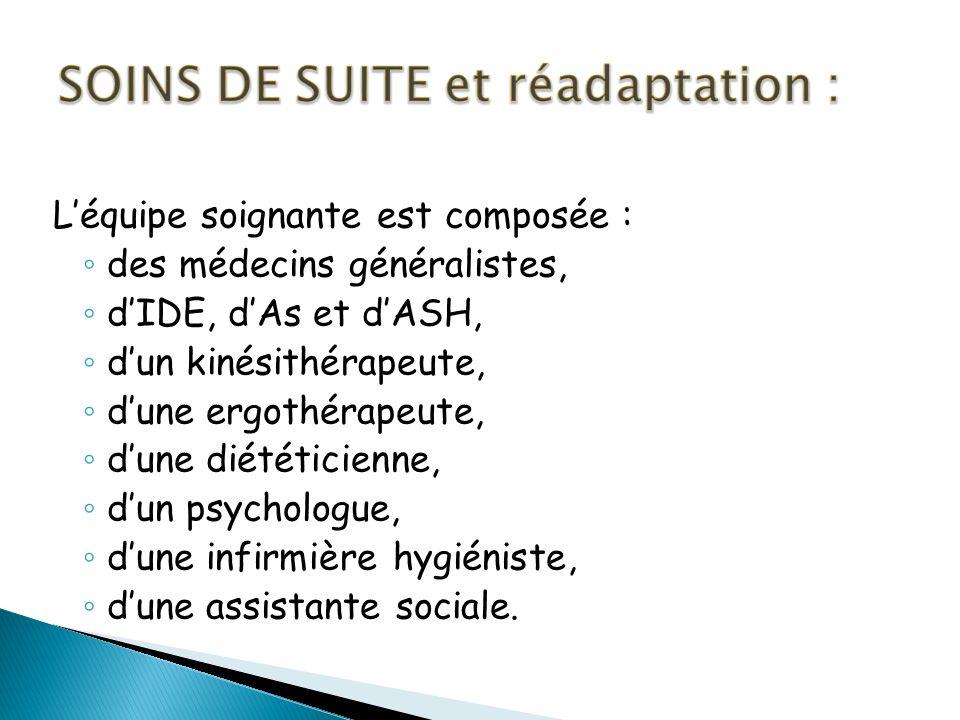 Léquipe soignante est composée : des médecins généralistes, dIDE, dAs et dASH, dun kinésithérapeute, dune ergothérapeute, dune diététicienne, dun psychologue, dune infirmière hygiéniste, dune assistante sociale.