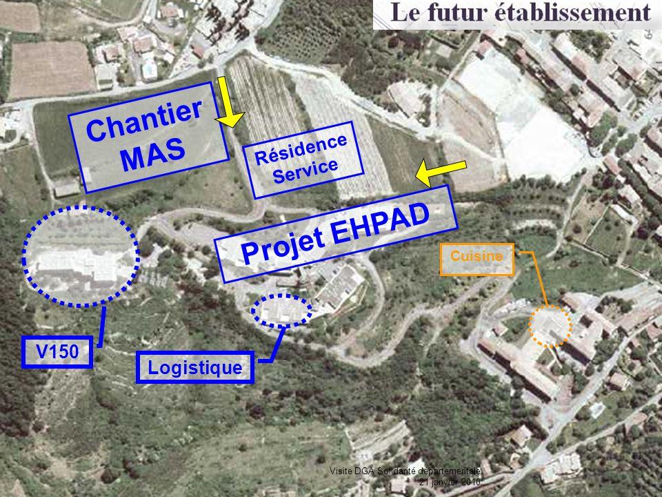 V150 Cuisine Logistique Chantier MAS Projet EHPAD Résidence Service Visite DGA Solidarité départementale 21 janvier 2010