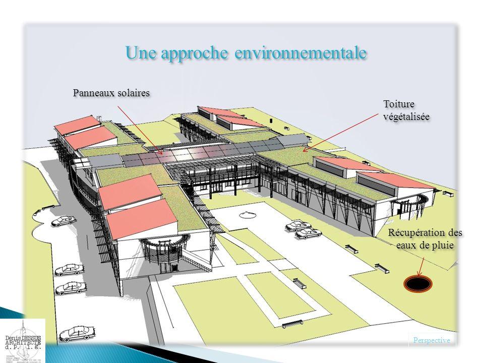 Perspective Une approche environnementale Toiture végétalisée Panneaux solaires Récupération des eaux de pluie