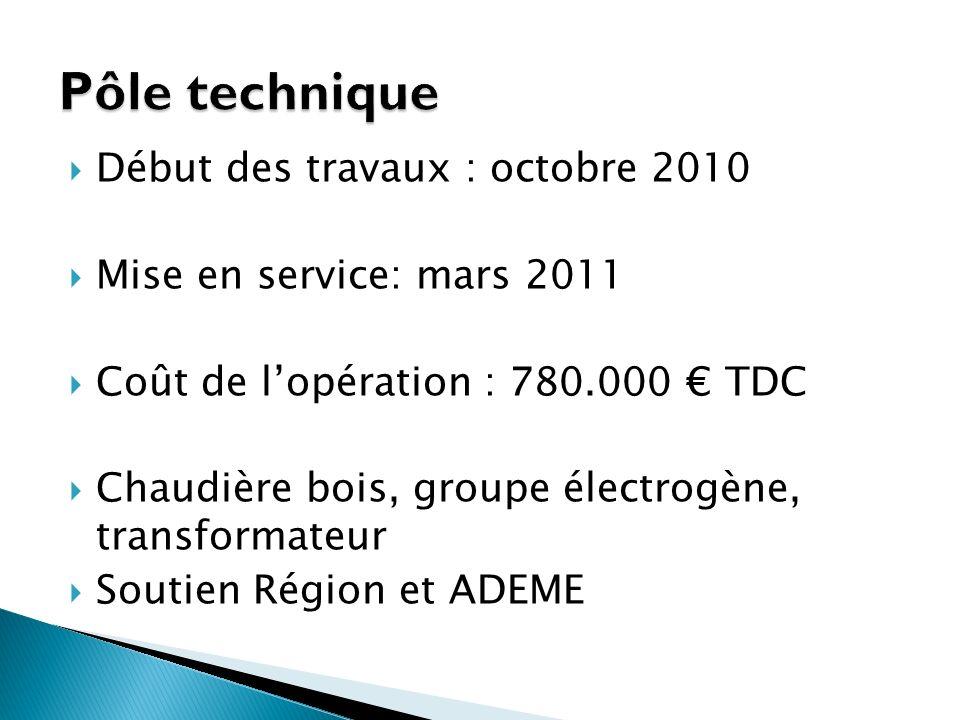 Début des travaux : octobre 2010 Mise en service: mars 2011 Coût de lopération : 780.000 TDC Chaudière bois, groupe électrogène, transformateur Soutien Région et ADEME