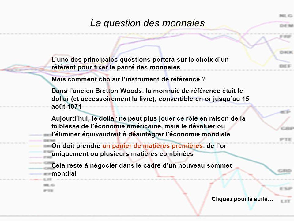 La question des monnaies Lune des principales questions portera sur le choix dun référent pour fixer la parité des monnaies Mais comment choisir linstrument de référence .