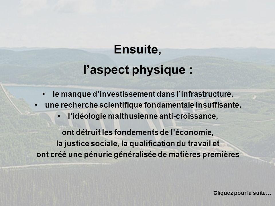 Ensuite, laspect physique : le manque dinvestissement dans linfrastructure, une recherche scientifique fondamentale insuffisante, lidéologie malthusie