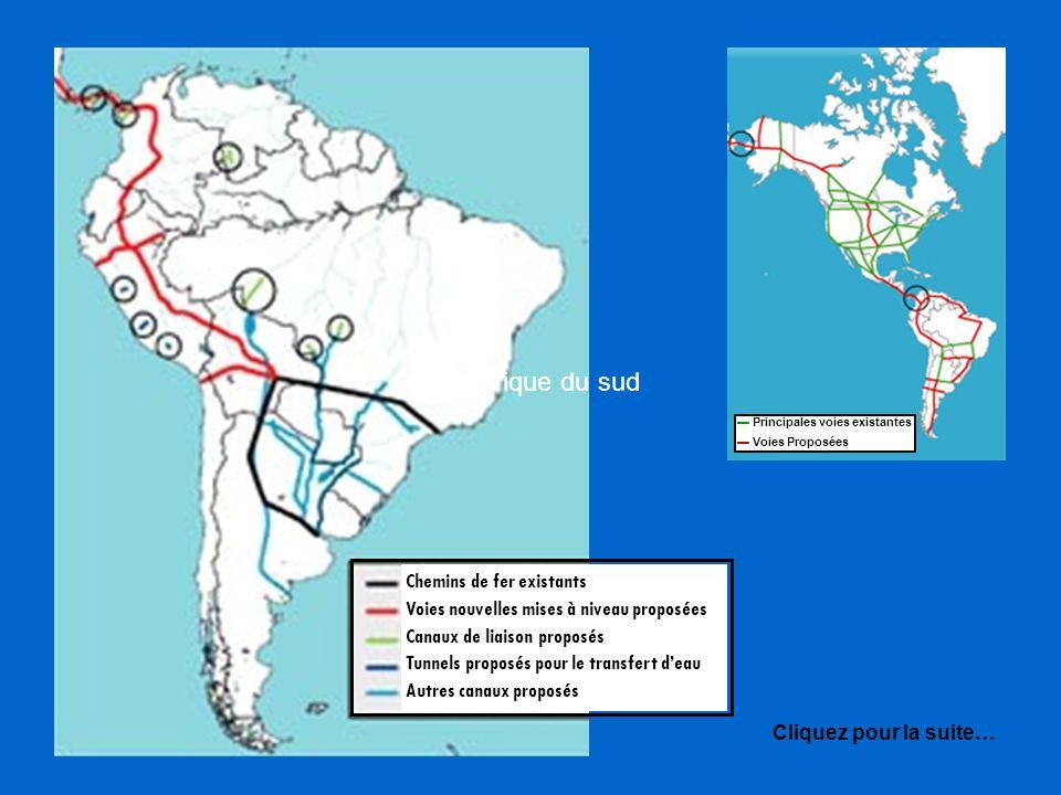 Chemins de fer existants Voies nouvelles mises à niveau proposées Canaux de liaison proposés Tunnels proposés pour le transfert deau Autres canaux proposés en Amérique du sud Cliquez pour la suite… Principales voies existantes Voies Proposées