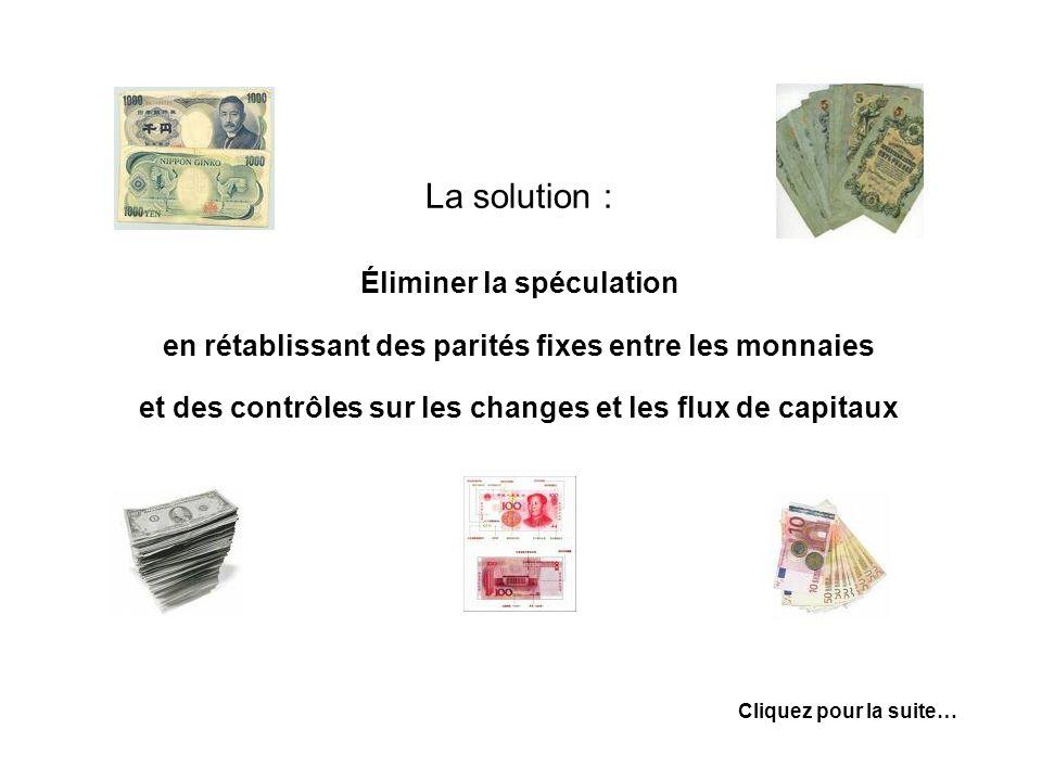 La solution : Éliminer la spéculation en rétablissant des parités fixes entre les monnaies et des contrôles sur les changes et les flux de capitaux