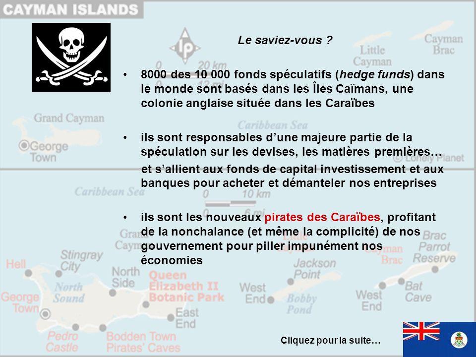 Le saviez-vous ? 8000 des 10 000 fonds spéculatifs (hedge funds) dans le monde sont basés dans les Îles Caïmans, une colonie anglaise située dans les