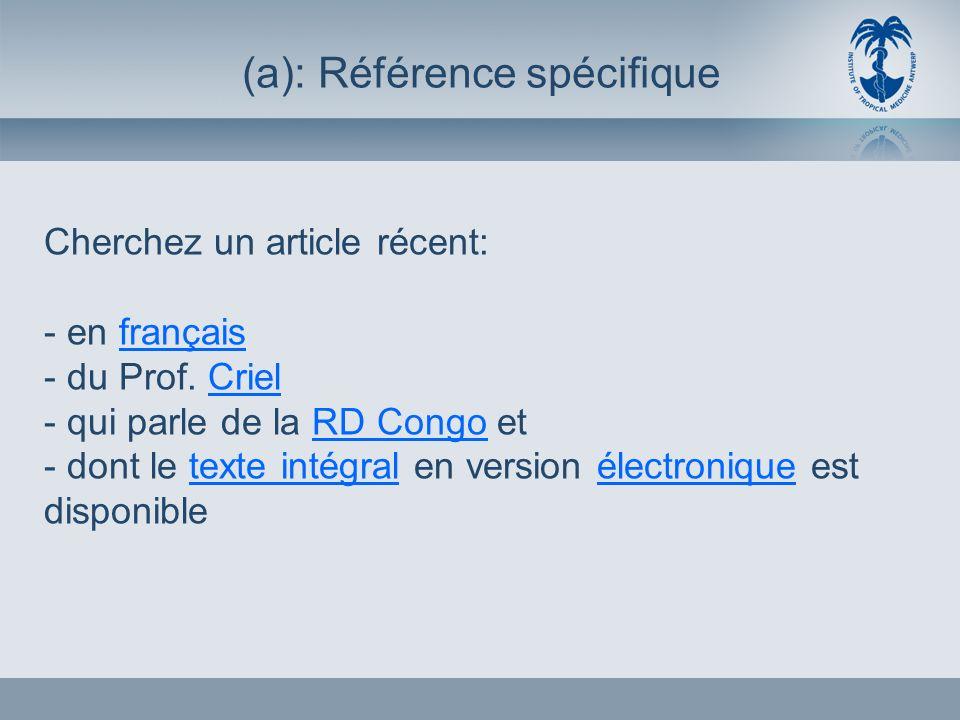 Cherchez un article récent: - en français - du Prof.