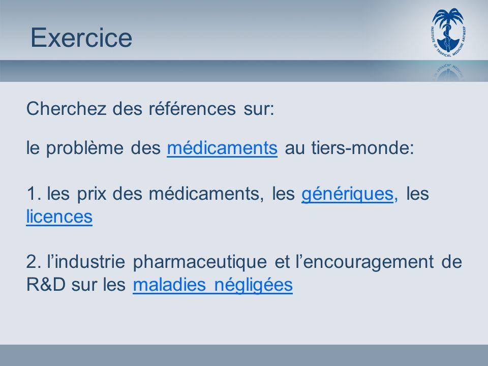 Cherchez des références sur: le problème des médicaments au tiers-monde: 1.