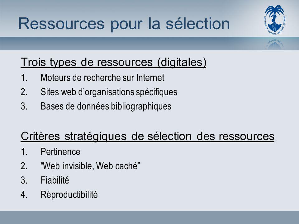 Ressources pour la sélection Trois types de ressources (digitales) 1.Moteurs de recherche sur Internet 2.Sites web dorganisations spécifiques 3.Bases de données bibliographiques Critères stratégiques de sélection des ressources 1.Pertinence 2.Web invisible, Web caché 3.Fiabilité 4.Réproductibilité