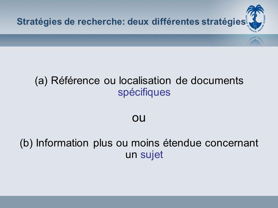 (a): Référence spécifique Déterminez les éléments les plus spécifiques dans la référence: –p.ex.