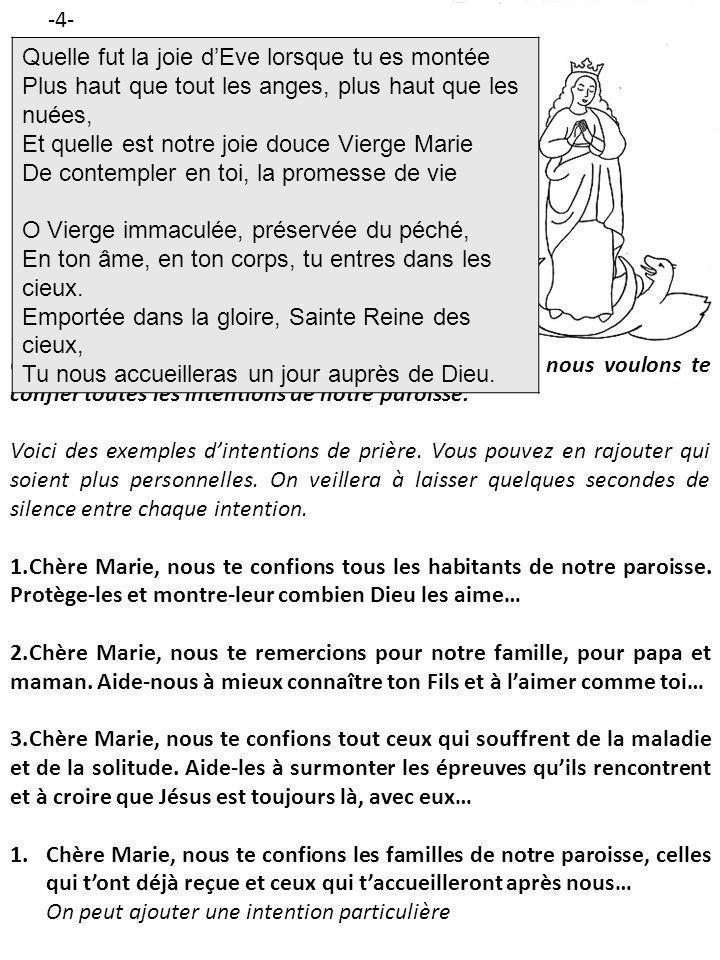 Pour conclure la prière, on peut dire ou chanter le « Je vous salue, Marie » On fait le signe de la Croix, et un des enfants éteint la bougie.