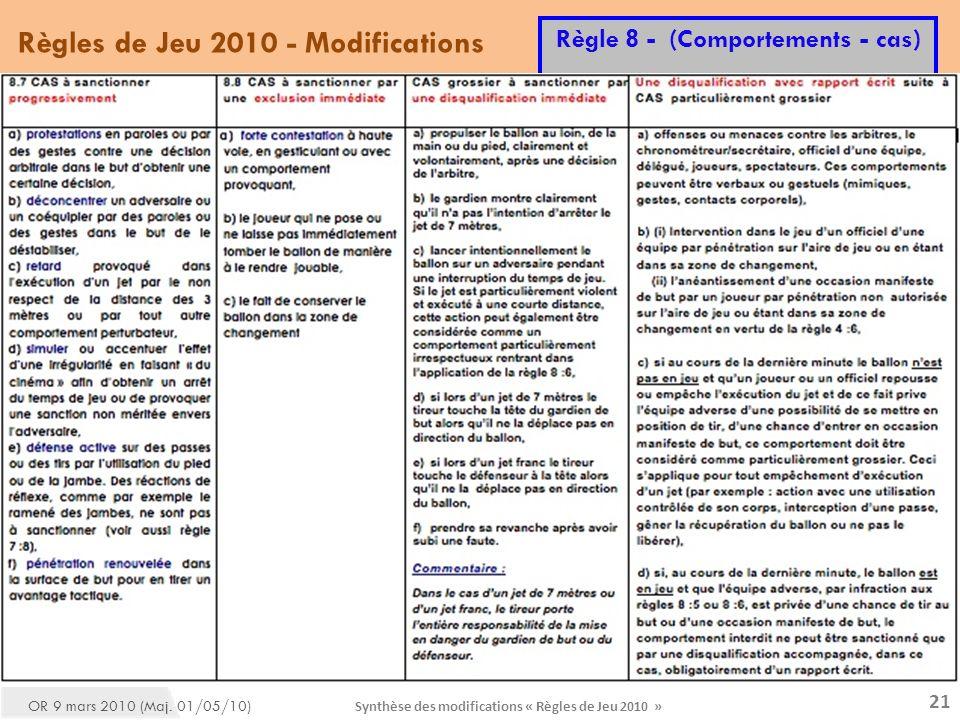 Synthèse des modifications « Règles de Jeu 2010 » 21 Règles de Jeu 2010 - Modifications Règle 8 - (Comportements - cas) OR 9 mars 2010 (Maj.
