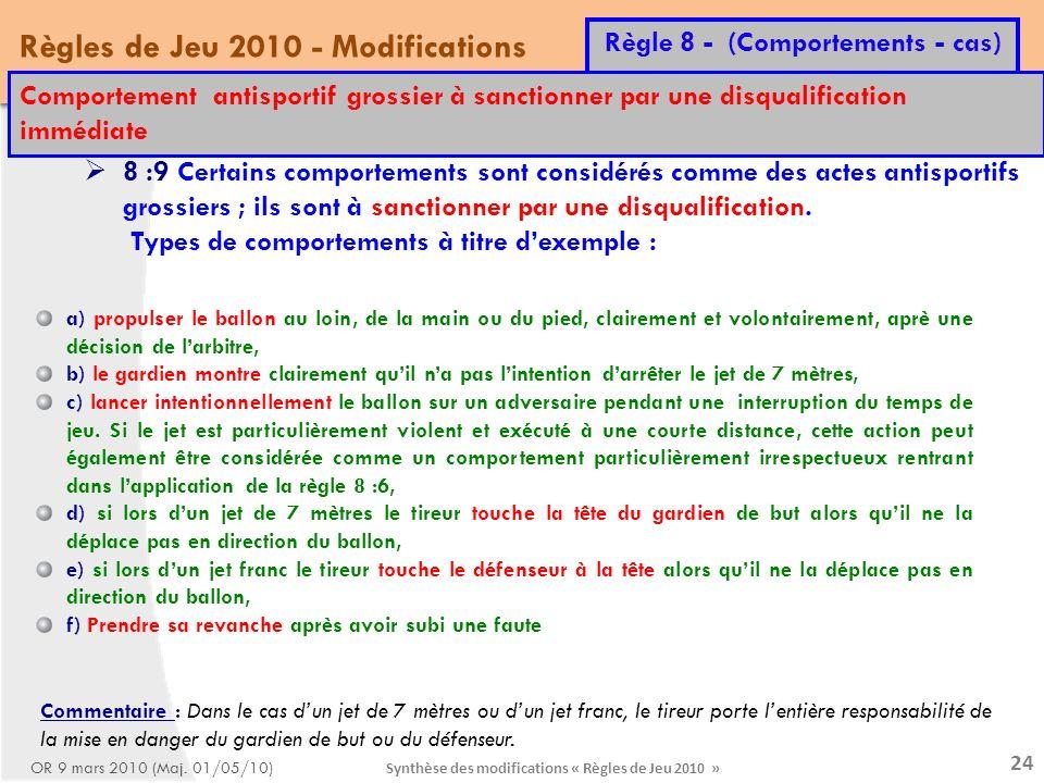 Synthèse des modifications « Règles de Jeu 2010 » 24 Règles de Jeu 2010 - Modifications Règle 8 - (Comportements - cas) OR 9 mars 2010 (Maj.