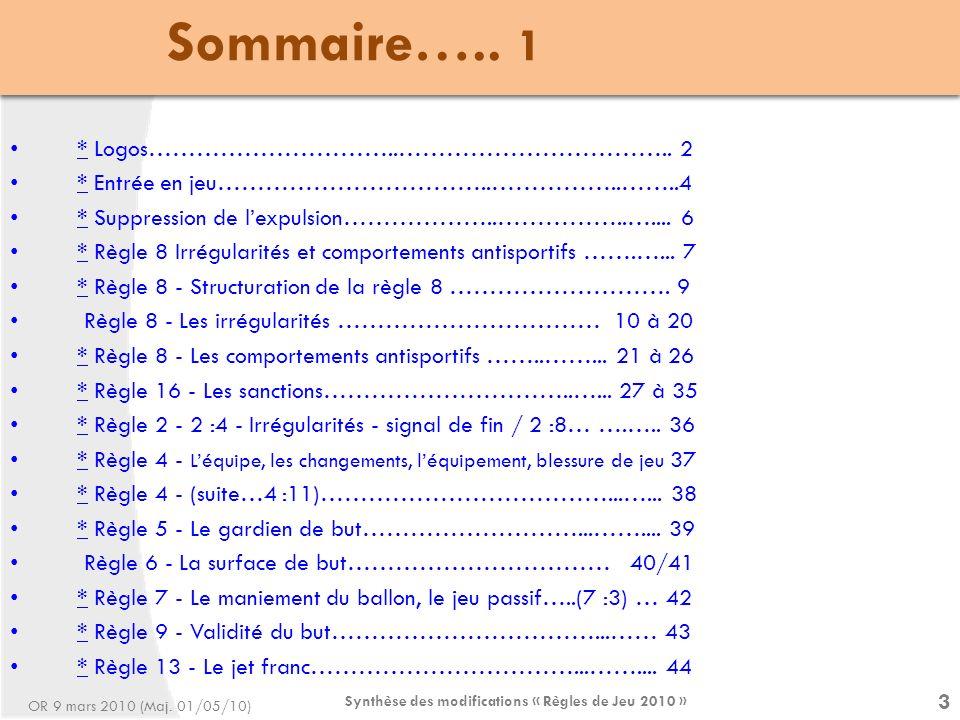 Synthèse des modifications « Règles de Jeu 2010 » 4 Sommaire…..