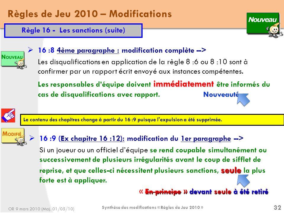 Synthèse des modifications « Règles de Jeu 2010 » 32 Règles de Jeu 2010 – Modifications Règle 16 - Les sanctions (suite) 16 :8 4ème paragraphe : modification complète --> Les disqualifications en application de la règle 8 :6 ou 8 :10 sont à confirmer par un rapport écrit envoyé aux instances compétentes.