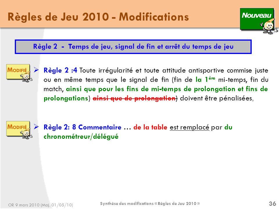 Synthèse des modifications « Règles de Jeu 2010 » 36 Règles de Jeu 2010 - Modifications Règle 2 :4 Toute irrégularité et toute attitude antisportive commise juste ou en même temps que le signal de fin (fin de la 1 ère mi-temps, fin du match, ainsi que pour les fins de mi-temps de prolongation et fins de prolongations) ainsi que de prolongation) doivent être pénalisées, Règle 2 - Temps de jeu, signal de fin et arrêt du temps de jeu Règle 2: 8 Commentaire … de la table est remplacé par du chronométreur/délégué OR 9 mars 2010 (Maj.