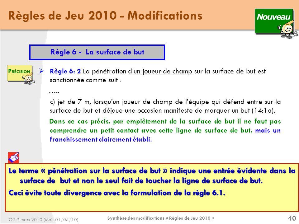 Synthèse des modifications « Règles de Jeu 2010 » 40 Règles de Jeu 2010 - Modifications Règle 6 - La surface de but Règle 6: 2 La pénétration dun joueur de champ sur la surface de but est sanctionnée comme suit : …..