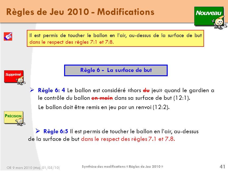 Synthèse des modifications « Règles de Jeu 2010 » 41 Règles de Jeu 2010 - Modifications Règle 6 - La surface de but Règle 6: 4 Le ballon est considéré «hors du jeu» quand le gardien a le contrôle du ballon en main dans sa surface de but (12:1).